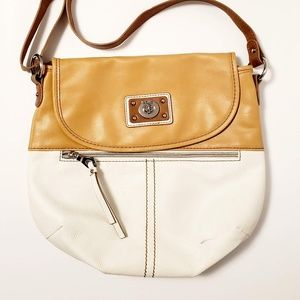 RELIC Tan and White Shoulder / Crossbody Bag